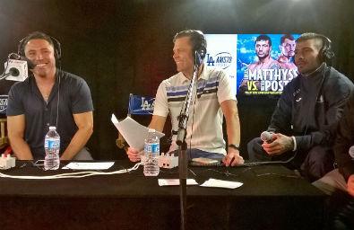 De la Hoya y Lucas en una radio de Los Ángeles